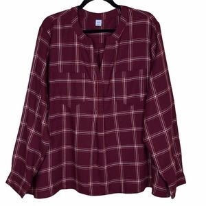 Old Navy Plaid Tunic Blouse